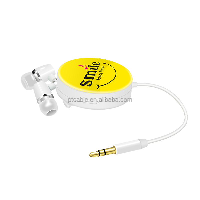Detachable 3.5mm Retractable Storage Stereo In-Ear Earphone Headset For Cell Phone