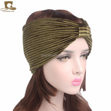 New ruffle knotted velvet turban headband women hair bands head wrapsTJM-143