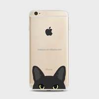 Mobile cases cute black kitty cat head Soft TPU cell phone case custom phone cases For iPhone 4 4S 5C