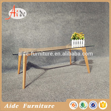 Modern wood frame 8mm glass top end table
