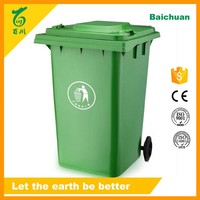 Plastic Outdoor Garbage Bin Wheels Green 95 Gallon with Handle Recycling