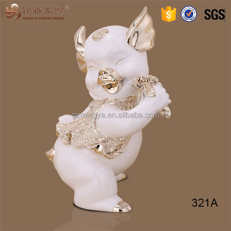Animal resin crafts funny resin pig statue for home decoration