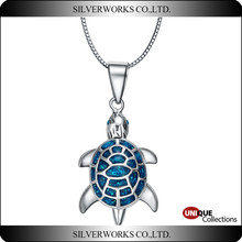 Adorable Vintage Sterling Silver Turtle Pendant with Opal Stone 925 sterling silver necklace charms