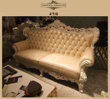 Foshan luxury classic antique chesterfield 3+2+1 leather sofa
