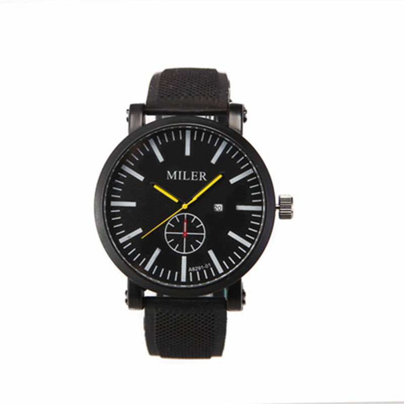 Modern Casual Style Time <strong>Date</strong>/Day Silicon Strap Wrist Watch A8921-2