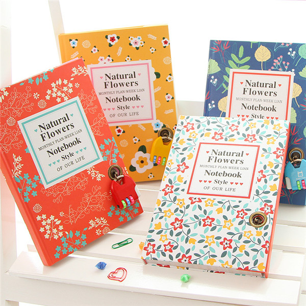 shenzhen stationery no spiral notebook with color pages natural flower lock diary notebook