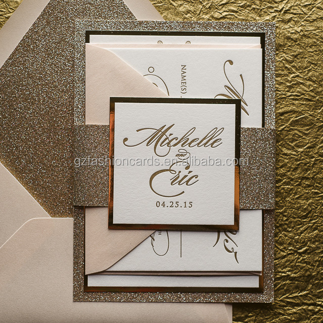 2016 Belly Band blush and gold glitter letterpress wedding invitation