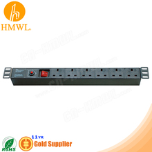 1U 19 inch 6 Way UK Rack Mount PDU with Overload protector & 1 switch