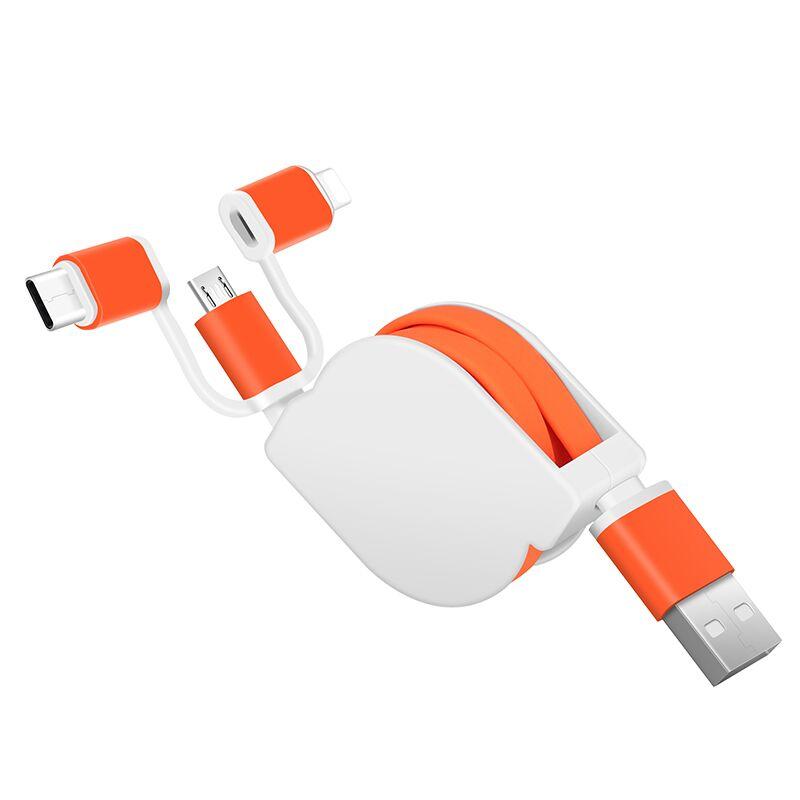 Rétractable 3in1 usb données multi-chargeur câble 3 en 1 micro usb usb c logo adapté aux besoins du client de téléphone portable de charge rapide câble pour iphone - ANKUX Tech Co., Ltd