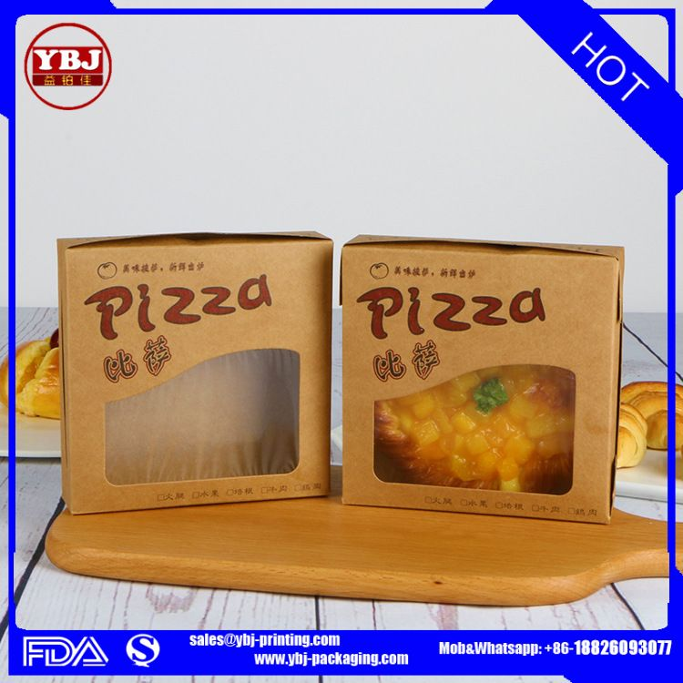 2017 Guangzhou Wholesale Cheap Custom Printed Micro-Flute Die Cut Corrugated pizza box with clear window