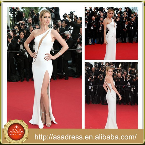 CN05 Sexy Doutzen Kroes Cannes Film Festival 2015 One Shoulder Red Carpet Celebrity Evening Dresses