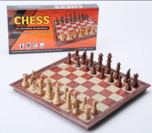 Portable folding chess game, antique and luxury wooden international chess game set
