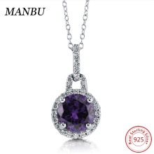 925 sterling silver Jewelry Round Simulated Amethyst CZ Halo Pendant Necklace N867-2