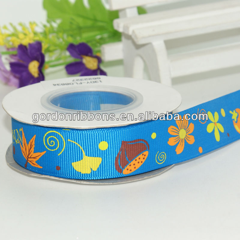 Maple Leaf Printed Ribbon In Vivid Blue