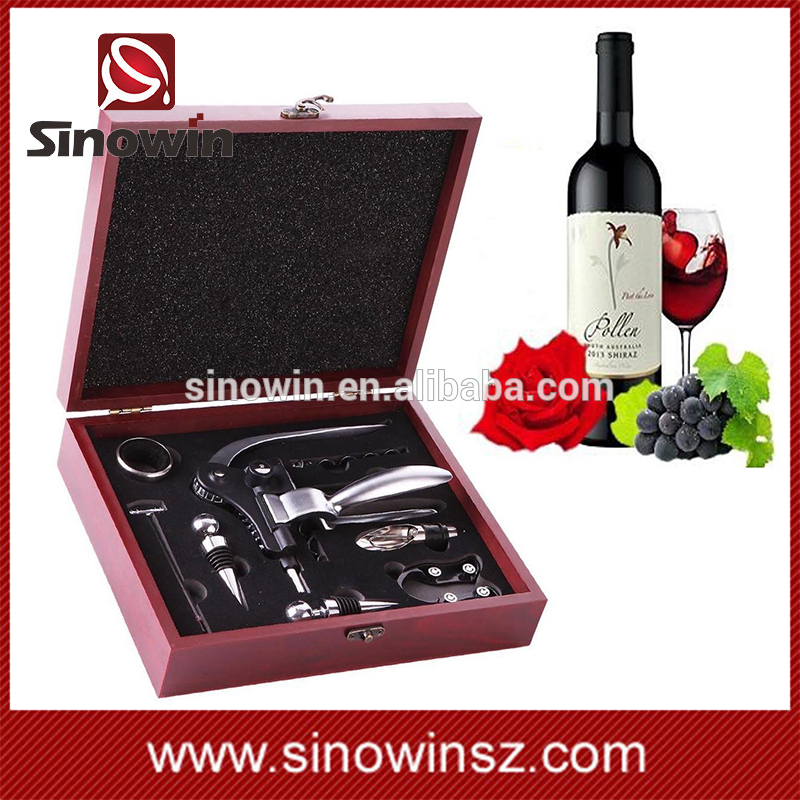 2017 new arrival fashion design easy use multifunction wine opener gift set with 9pcs wine accessories