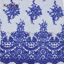Fashion embroidery beaded bridal lace fabrics wholesale WTPA-134