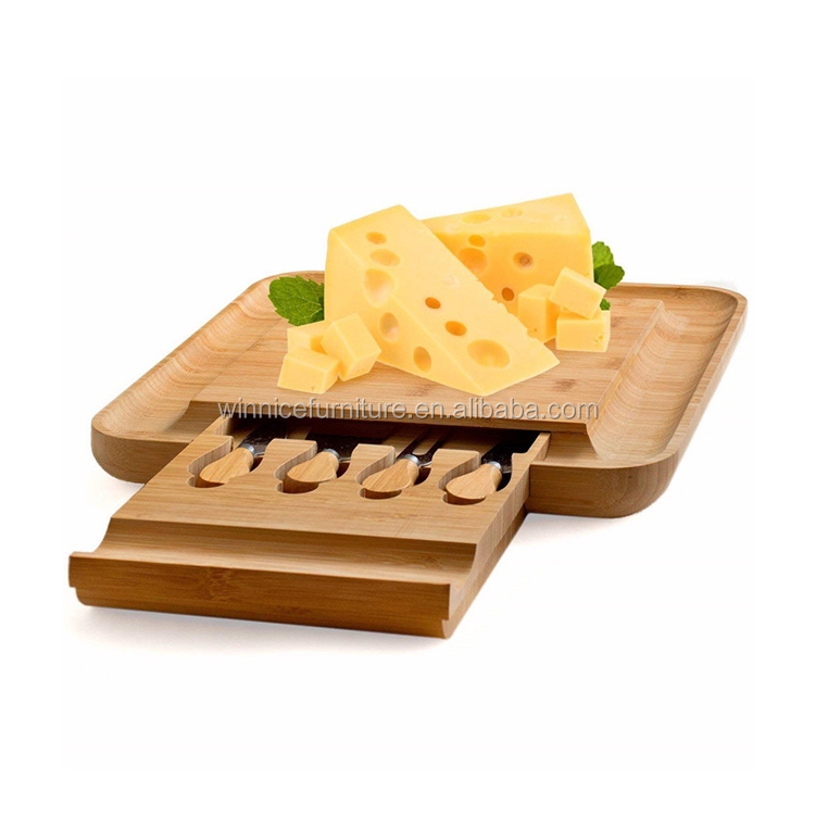 Bamboo Cheese Board With Cutlery Set Good Quality Tableware