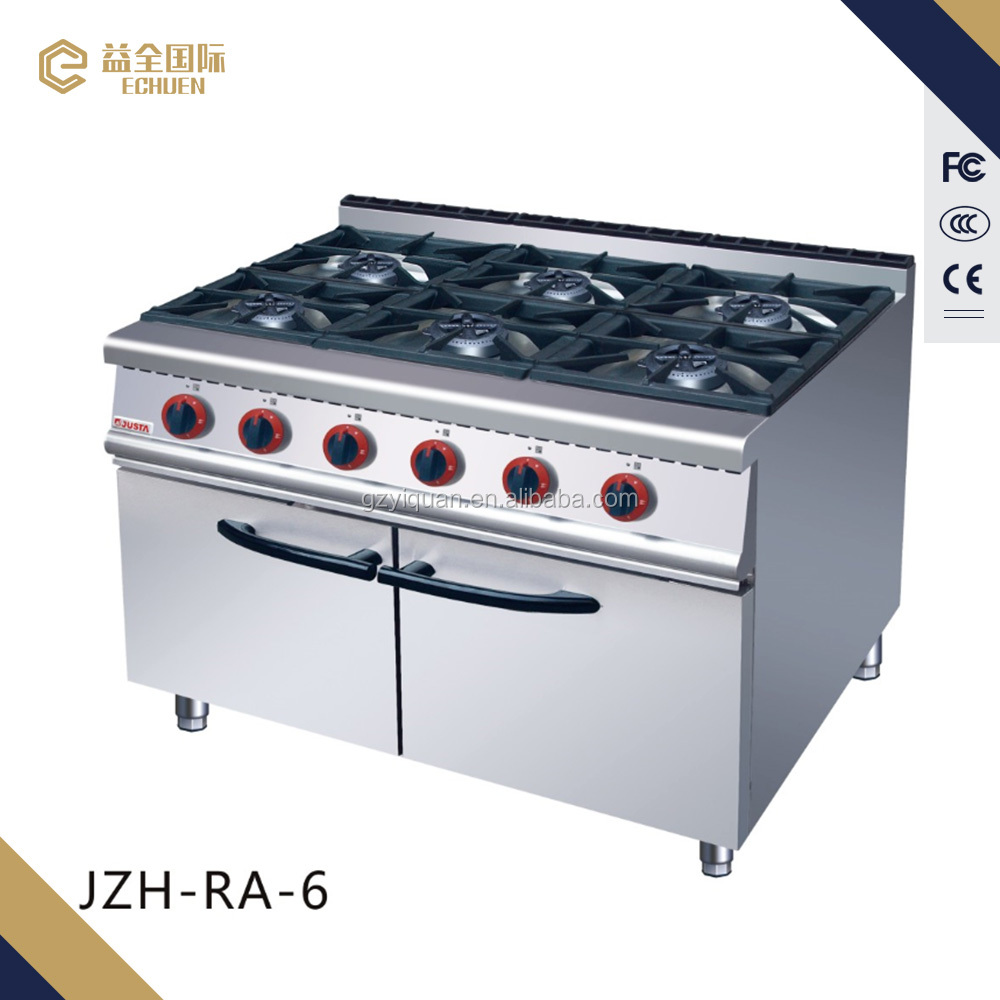 JZHRA6 commerial Chinese Cooking 6 range with Cabinet price burner