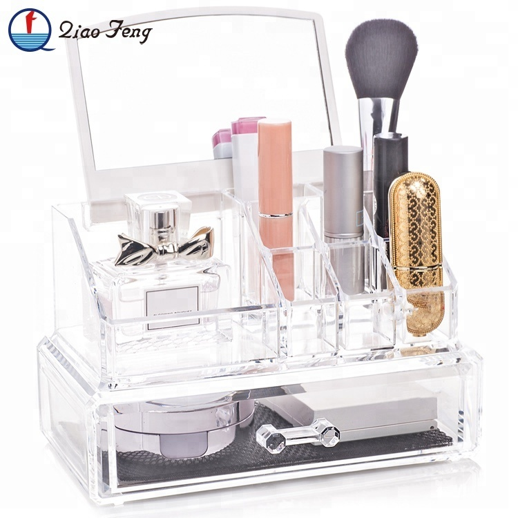 Wholesale Clear Acrylic Make Up Makeup Cosmetics Organizer Drawers With Mirror