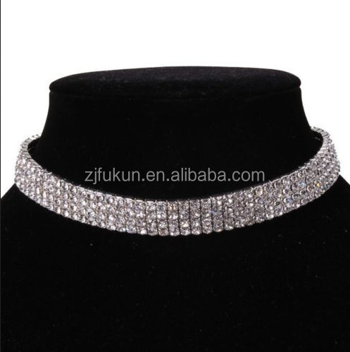 newest fashion 4 rows women silver plated clear rhinestones chunky choker collar necklace jewelry