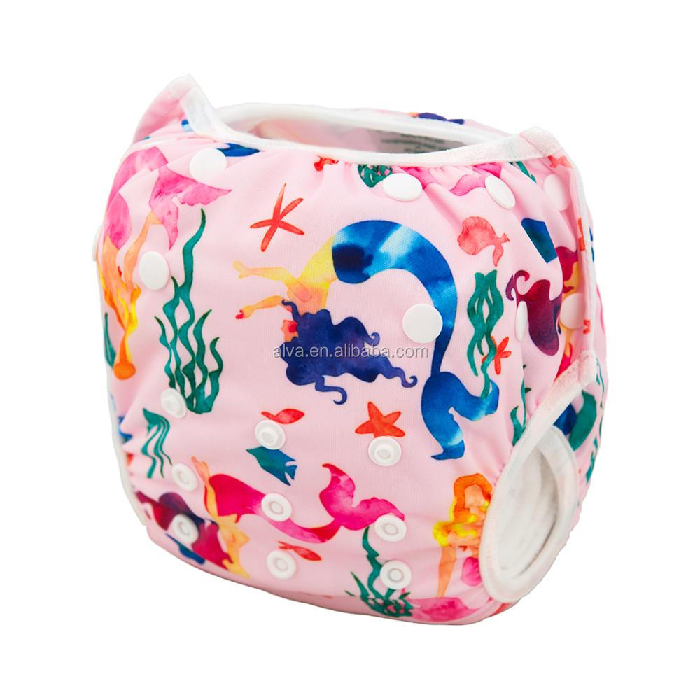 Alvababy Mermaid Pattern Baby Reusable Swim Diaper Manufacturers in China