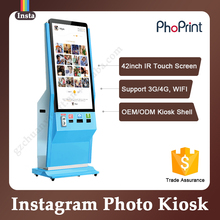 42 pulgadas del piso de pie lcd publicidad equipo de marketing con voz photo imprenta/quiosco vending/photo booth <span class=keywords><strong>máquina</strong></span> <span class=keywords><strong>expendedora</strong></span>