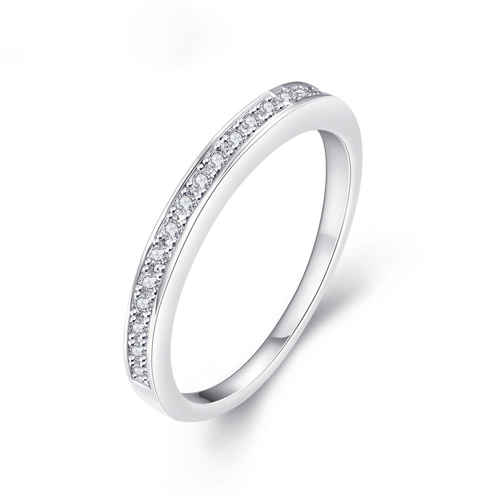 Wholesale High Quality 3mm Cubic Zircon Micro Pave Setting Solitaire Infinity Engagement Ring Silver Plated Diamond Ring