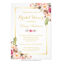 Pastel Water Color Floral Wedding Invitations ,Chic Floral Golden Frame Cards