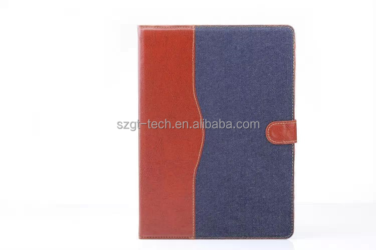 For iPad Air 2 hit color Jeans Denim Leather stand Case