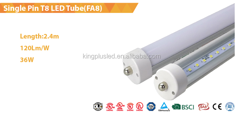 Good price 2.4m 36W G13 FA8 R17D 8ft t8 led tube lights, led tube timely delivery