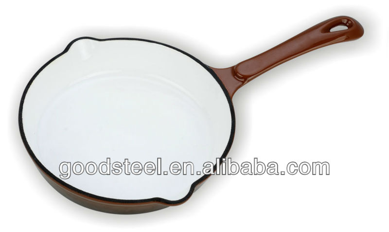 Enamel Coating Round Cast Iron Skillet