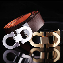 Fashion smooth buckle men women leather brand design belts
