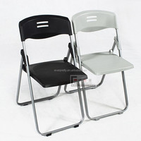 Cheap yes folded plastic chair, plastic folding chairs with metal iron tube legs