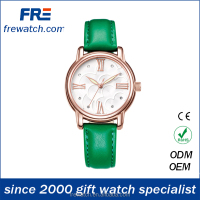 quality stainless steel lady watch with genuine leather strap luxury ladies watches