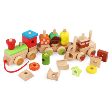 Beech wooden kids toy Multifunctional High quality shape matching train