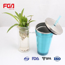 insulated stainless steel drink water bottle with straw lid