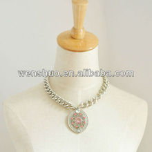 AM-007 free shipping retail 1 piece round pendant gem necklace