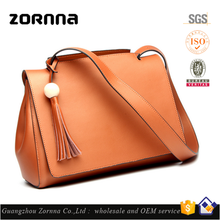 Custom Young Women No Name Plain Cowhide Leather Handbags Purses with Tassel for Girl