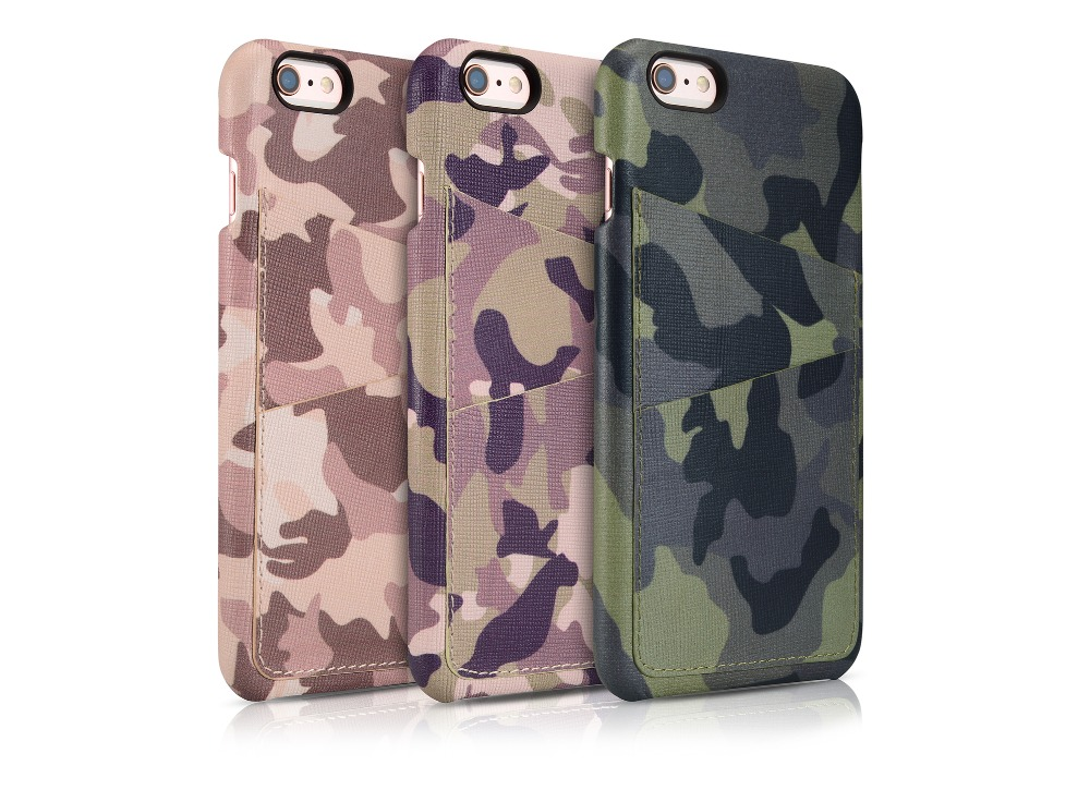 Icarer Camouflage Series Genuine Leather Case Back Cover Wallet Style 2 Card Slots Ultra Slim For iPhone 6/6 Plus PI-015