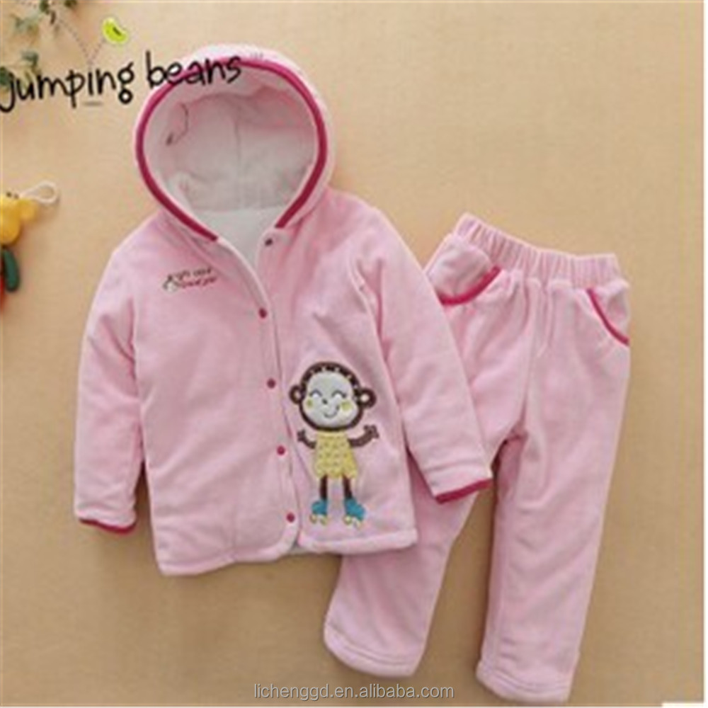 (FG4906) Pink kids garments 12-18M baby girl winter clothes cotton new design children warm sets infant clothes