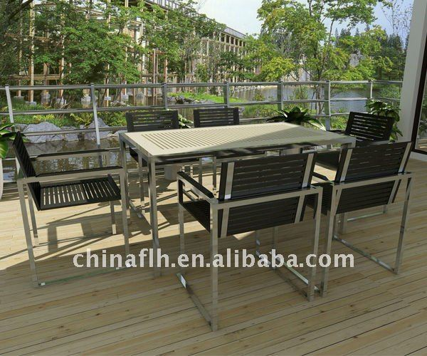 Outdoor Furniture Compact HPL Table And Chair For Patio Restaurant
