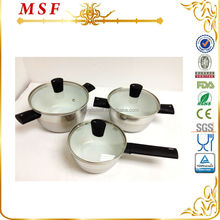 Happy call 6pcs stainless steel cookware set with unique special heat resistant bakelite handle MSF-3696