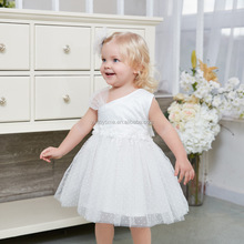 Lovely White Lace Flower Dress- Rustic Lace Flower Girl Dress Fairy Girl Wedding Party Dress for 1- 6 Years Old