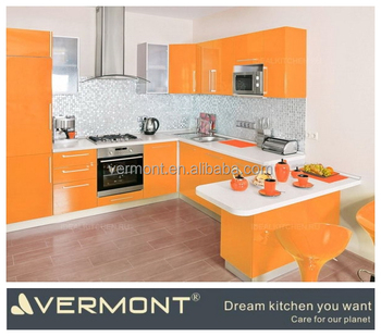 2018 Vermont New Warm Orange Hign Gloss Lacquer Kitchen Cabinet