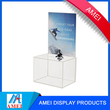 Clear Acrylic Charity Cash Donation boxes with locks and key