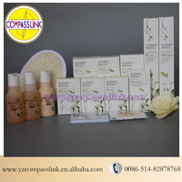 personalized hotel guest kit disposable set for hotel amenities/slipper/shampoo/soap/toothbrush/loofa/body lotion/shower gel