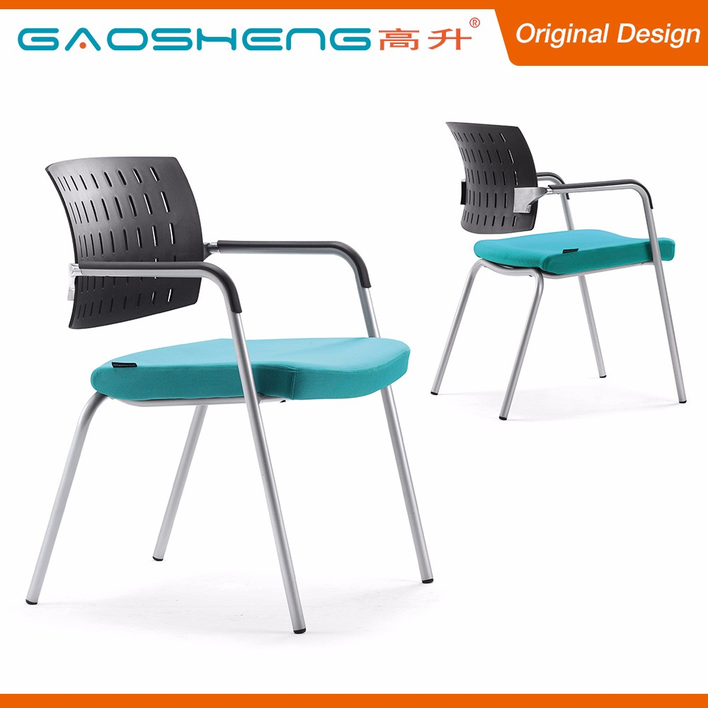 Comfortable Fabric Seat Cushion Steel Tube Reception Chair