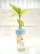 Ceramic Vase with Glass-Blue