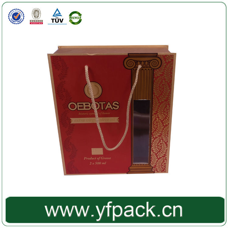 portable cardboard material 2 bottles olive oil packaging gift box