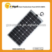 75w waterproof flexible solar panel china ,perfect to use on yachat ,car,boat,snow mobile,golf-cart..etc